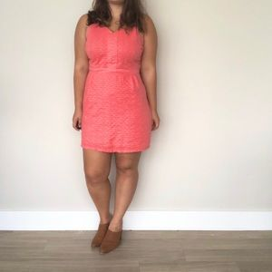 Plus size coral eyelet petite dress
